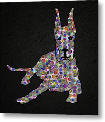 Abstract Colorful Dog Silhouette Metal Print by Georgeta Blanaru
