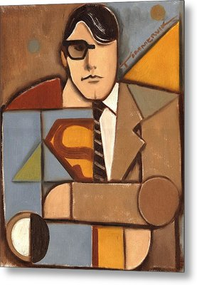 Abstract Cubism Clark Kent Superman Art Print Metal Print