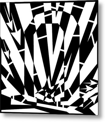 Abstract Distortion Horse Shoe Magnet Metal Print by Yonatan Frimer Maze Artist