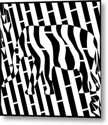 Abstract Distortion Invisible Elephant In The Room Maze  Metal Print by Yonatan Frimer Maze Artist