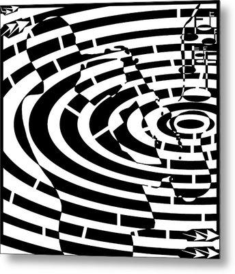 Abstract Distortion Jazz On Saxophone Maze  Metal Print by Yonatan Frimer Maze Artist