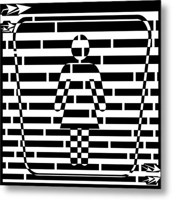 Abstract Distortion Ladies Room Sign Maze Metal Print by Yonatan Frimer Maze Artist