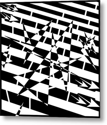 Abstract Distortion Of Weakly Interactive Massive Particles Maze  Metal Print by Yonatan Frimer Maze Artist