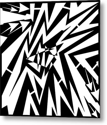 Abstract Distortion Tear In Time Space Maze  Metal Print by Yonatan Frimer Maze Artist