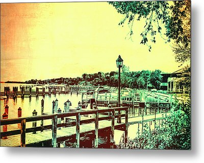 Abstract Docks And Water Metal Print by Susan Stone