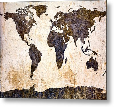 Abstract Earth Map Metal Print by Bob Orsillo