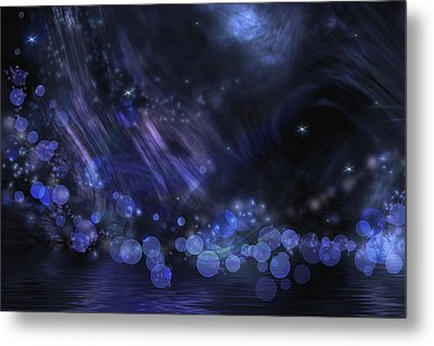Abstract Fantasy In Black And Blue Metal Print by Nika Lerman