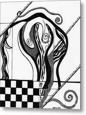 Abstract Figure In Black And White 2 Metal Print by Christine Perry