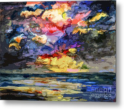 Abstract Stormy Sunrise Seascape Metal Print