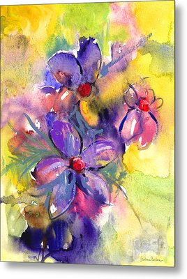 abstract Flower botanical watercolor painting print Metal Print by Svetlana Novikova