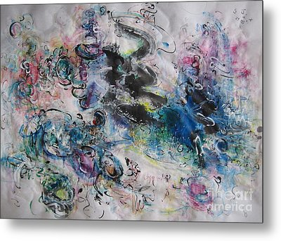 Abstract Flower Field Painting Blue Pink Green Purple Black Landscape Painting Modern Acrylic Pastel Metal Print by Seon-Jeong Kim