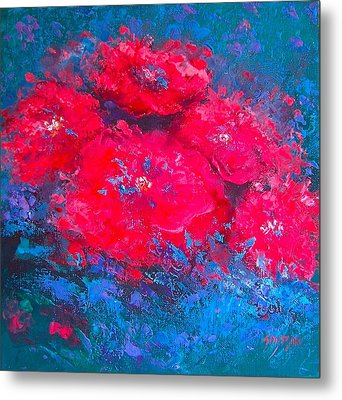 Abstract Flowers Metal Print by Jan Matson