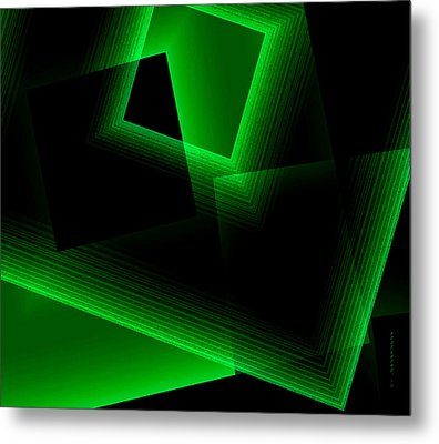 Abstract Geometry Green On Green In Digital Art Metal Print by Mario Perez