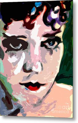 Abstract Gloria Swanson Silent Movie Star Metal Print by Ginette Callaway