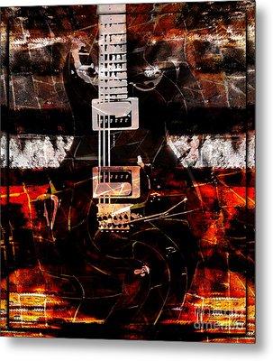 Abstract Guitar Into Metal Metal Print by Nola Lee Kelsey