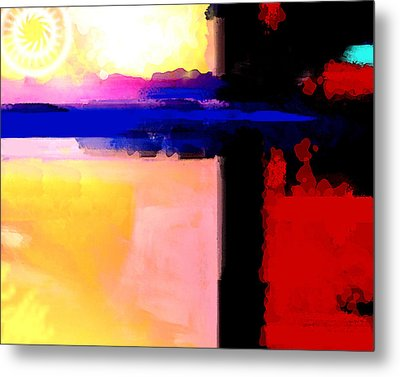 Metal Print featuring the painting Abstract Impressions Of A Blue Horizon by Karon Melillo DeVega