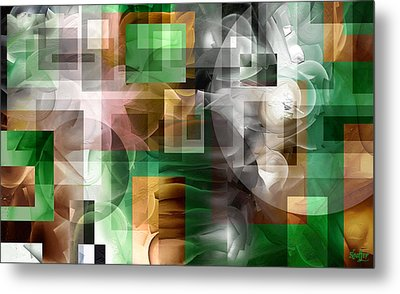 Metal Print featuring the painting Abstract In Green by Curtiss Shaffer