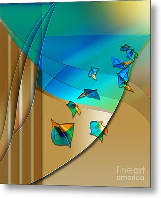 Metal Print featuring the digital art Abstract In Leaves by Allison Ashton