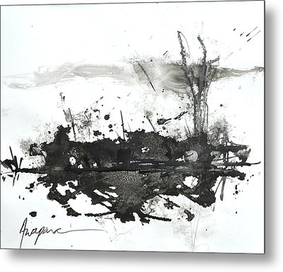 Modern Abstract Black Ink Art Metal Print