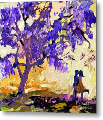 Abstract Jacaranda Tree Lovers Metal Print by Ginette Callaway
