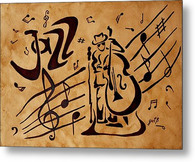 Abstract Jazz Music Coffee Painting Metal Print by Georgeta  Blanaru