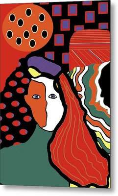 Abstract Lady Metal Print