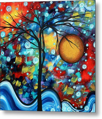 Abstract Landscap Art Original Circle Of Life Painting Sweet Serenity By Madart Metal Print by Megan Duncanson