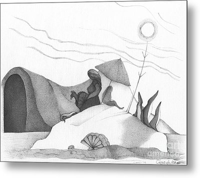 Abstract Landscape Art Black And White Beach Cirque De Mor By Romi Metal Print