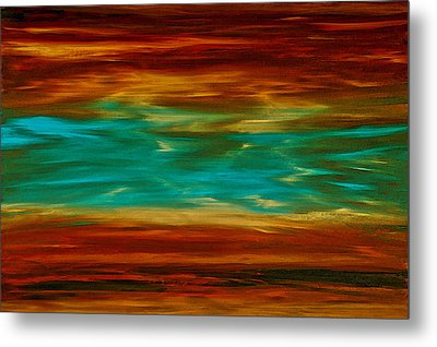 Abstract Landscape Art - Fire Over Copper Lake - By Sharon Cummings Metal Print by Sharon Cummings