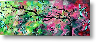 Abstract Landscape Bird And Blossoms Original Painting Birds Delight By Madart Metal Print
