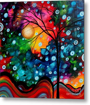 Abstract Landscape Colorful Contemporary Painting By Megan Duncanson Brilliance In The Sky Metal Print