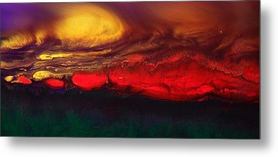 Abstract Landscape Fluid Art Dancing Sunset By Kredart  Metal Print by Serg Wiaderny