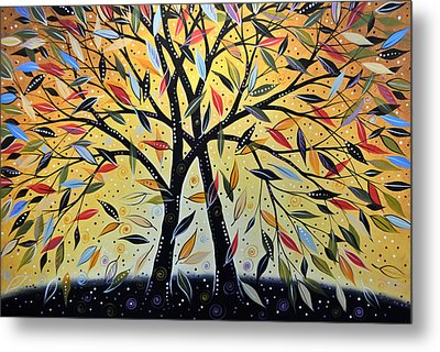 Abstract Landscape Modern Tree Art Painting ... New Day Dawning Metal Print by Amy Giacomelli
