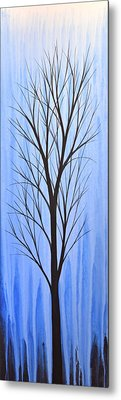Abstract Landscape Original Trees Art Print Painting ... Twilight Trees #4 Metal Print by Amy Giacomelli