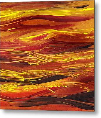 Abstract Landscape Yellow Hills Metal Print by Irina Sztukowski