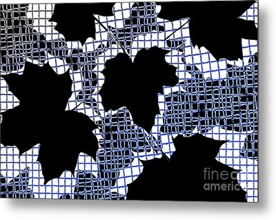 Abstract Leaf Pattern - Black White Blue Metal Print by Natalie Kinnear