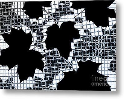 Abstract Leaf Pattern - Black White Light Blue Metal Print by Natalie Kinnear