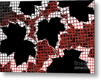 Abstract Leaf Pattern - Black White Red Metal Print by Natalie Kinnear