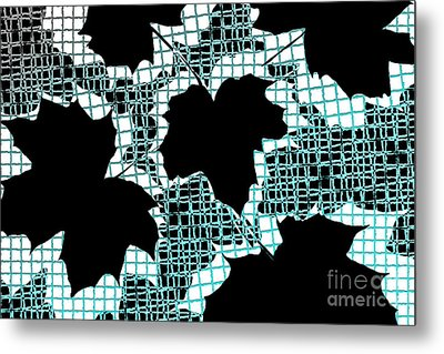 Abstract Leaf Pattern - Black White Turquoise Metal Print by Natalie Kinnear