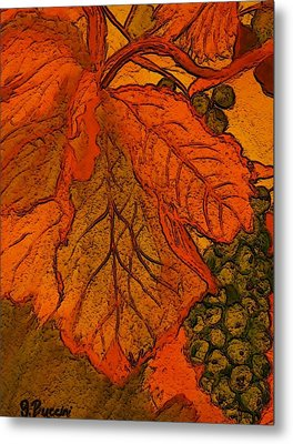 Abstract Leaves And Grapes Metal Print