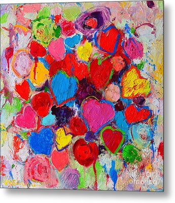 Abstract Love Bouquet Of Colorful Hearts And Flowers Metal Print