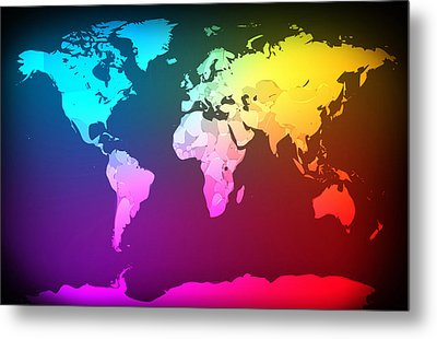 Abstract Map Of The World Metal Print by Michael Tompsett