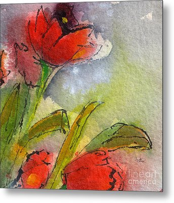 Abstract Modern Red Tulips Watercolor Metal Print by Ginette Callaway