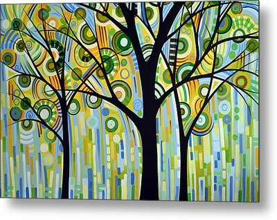 Abstract Modern Tree Landscape Spring Rain By Amy Giacomelli Metal Print by Amy Giacomelli