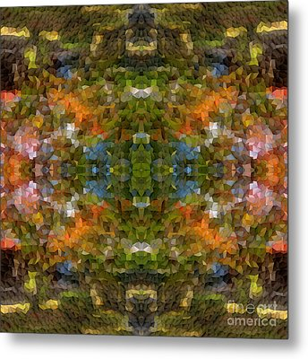 Abstract Mosaic In Green Blue Orange Metal Print