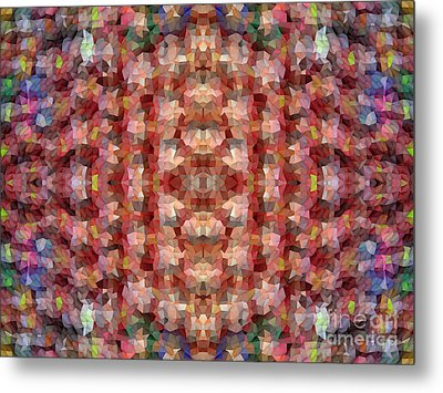 Abstract Mosaic In Red Rainbow Metal Print