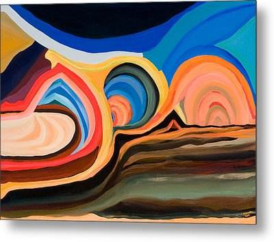Abstract Mountain And Seascape Metal Print