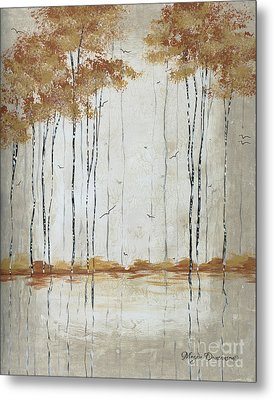 Abstract Neutral Landscape Pond Reflection Painting Mystified Dreams II By Megan Ducanson Metal Print by Megan Duncanson