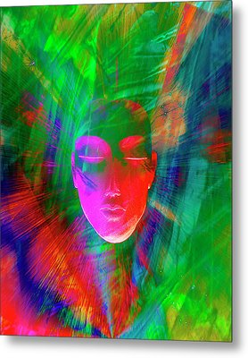 Abstract Of Meditating Human Face Metal Print by Jaynes Gallery