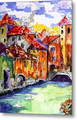 Abstract Old Houses In Annecy France Metal Print by Ginette Callaway